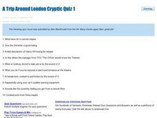 A Trip Around London Cryptic Quiz 1 Worksheet for 9th - 12th ...