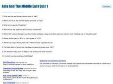 Asia and The Middle East quiz 1 Worksheet