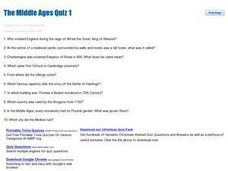 The Middle Ages Quiz 1 Worksheet