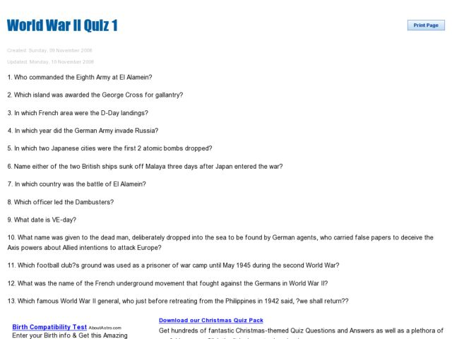 World War II Quiz 1 9th - 12th Grade Worksheet | Lesson Planet