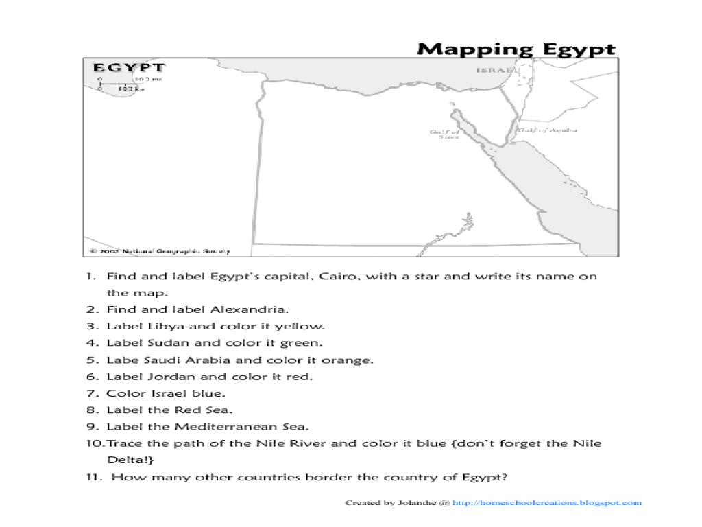 Map Of Egypt Worksheet For 4th 6th Grade Lesson Planet