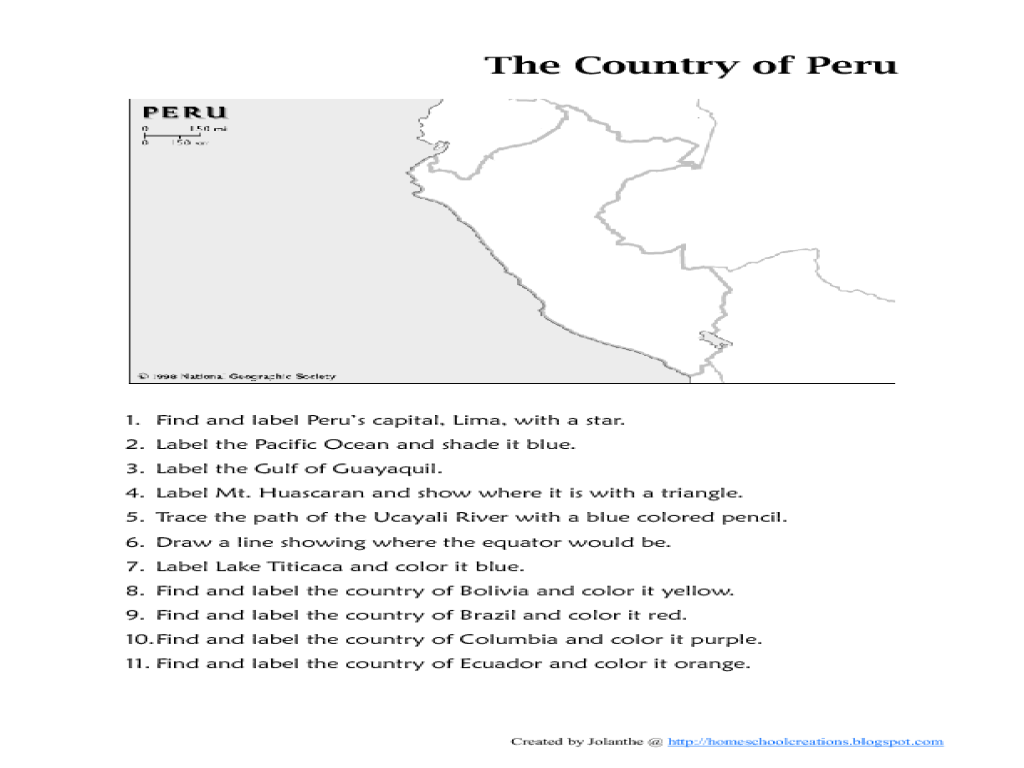 Plan for describing the country of Peru: geography and politics