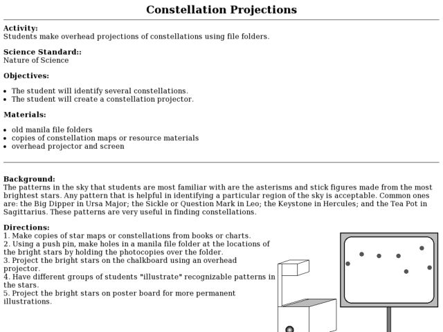 Constellation Projections 3rd - 5th Grade Lesson Plan | Lesson Planet
