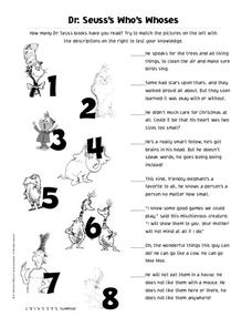 Dr. Seuss's Who's Whoses Worksheet