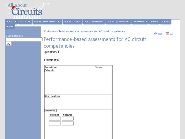 Performance-based Assessments for AC circuit Competencies Worksheet
