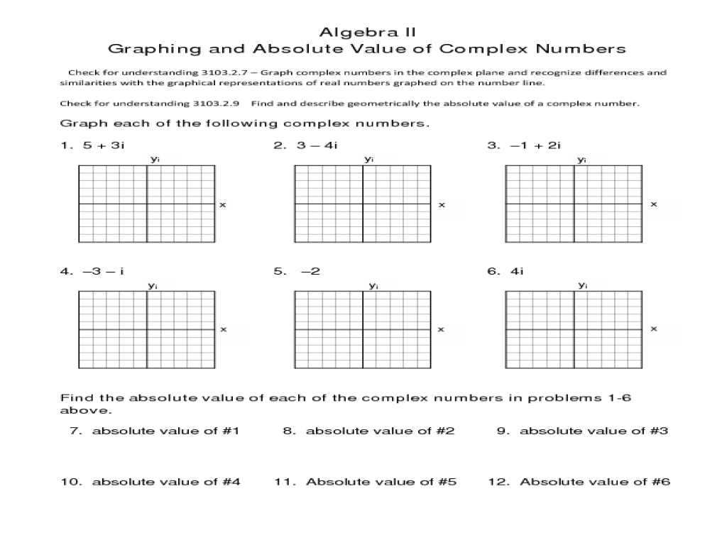 Graphing Complex Numbers Worksheet jannatulduniya – Complex Numbers Worksheet