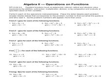 Function Operations Worksheet: Operations on Functions 9th   12th Grade Worksheet   Lesson Planet,