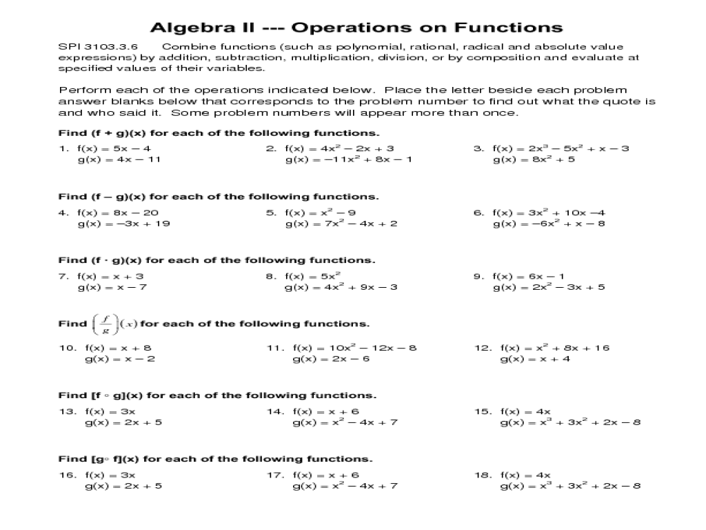 Operations on Functions Worksheet for 9th - 12th Grade ...