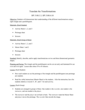 Transformations and Translations in Geometry Worksheet