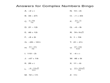Complex Numbers Lesson Plans & Worksheets | Lesson Planet