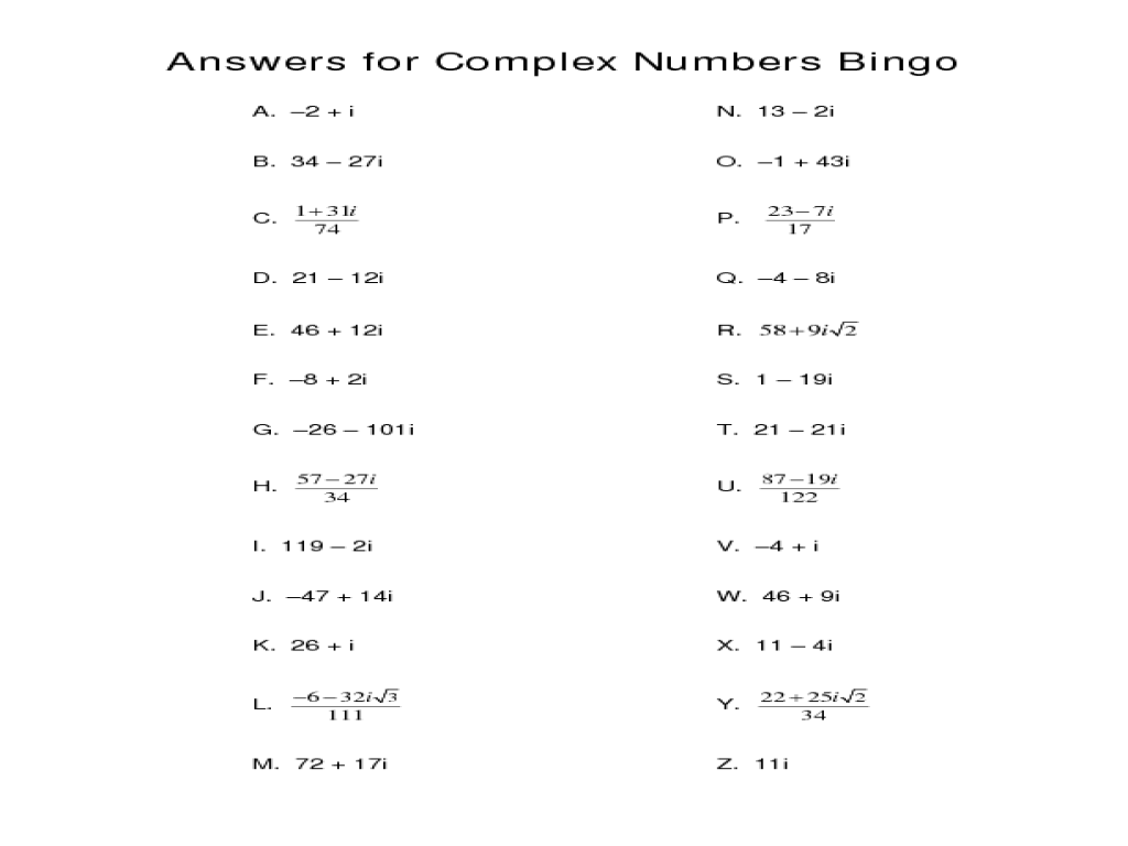 Computation with Real and Complex Numbers 9th 12th Grade – Graphing Complex Numbers Worksheet