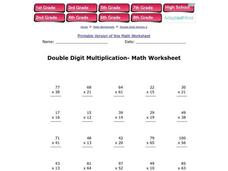 Double Digit Multiplication--Math Worksheet Worksheet