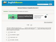 Advanced Sentence Completion Exercise 6 Interactive