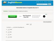 Intermediate Sentence Completion Exercise 15 Interactive