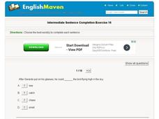 Intermediate Sentence Completion Exercise 16 Interactive