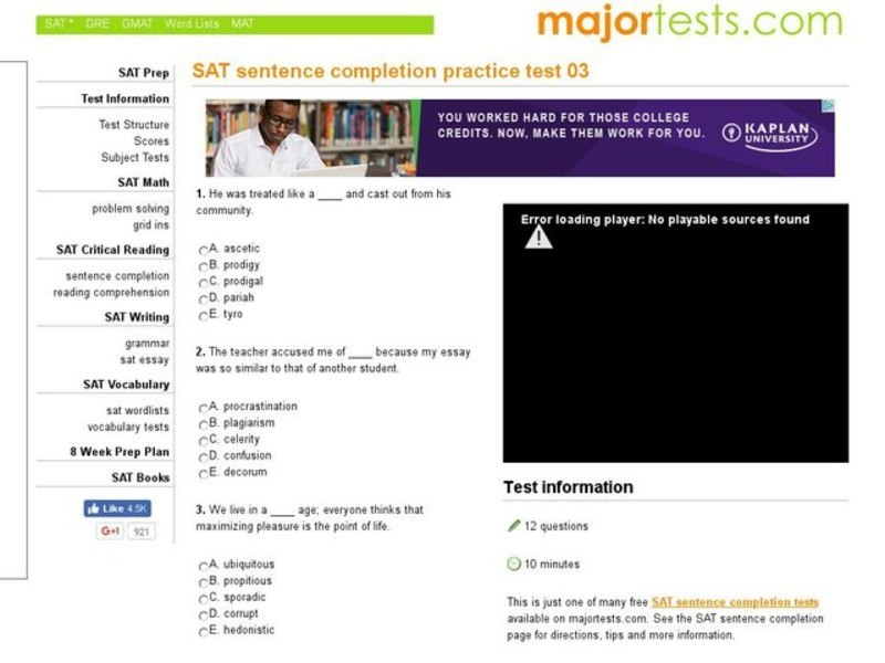 SAT Sentence Completion Practice Test 03 Interactive for