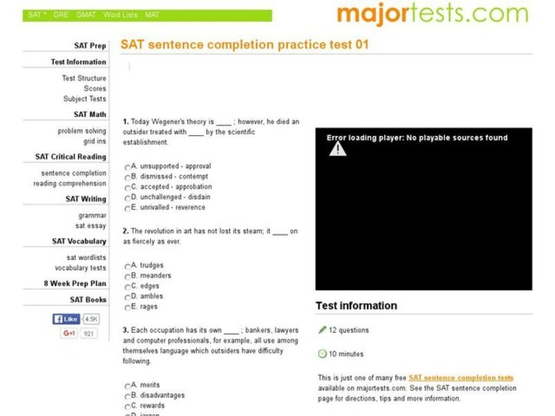 SAT Sentence Completion Practice Test 01 Interactive for 5th - 7th