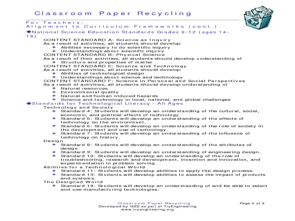 Classroom Paper Recycling Activities & Project