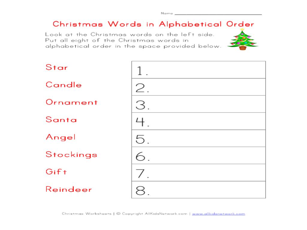 christmas words in alphabetical order worksheet for 2nd 3rd grade lesson planet. Black Bedroom Furniture Sets. Home Design Ideas