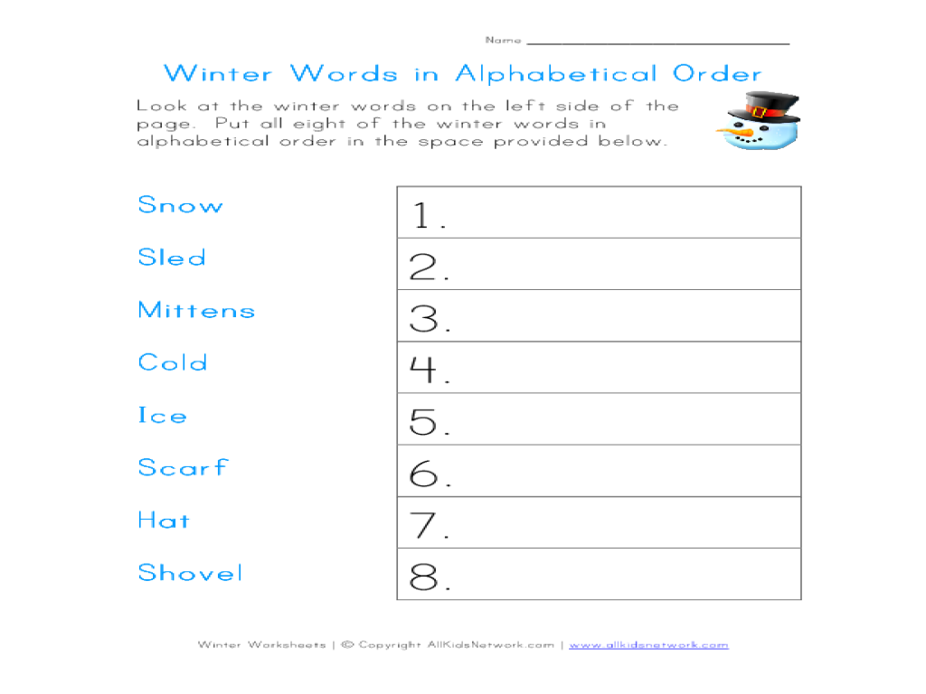 winter words in alphabetical order worksheet for 1st 2nd grade lesson planet. Black Bedroom Furniture Sets. Home Design Ideas