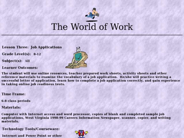 The World of Work: Job Applications Lesson Plan