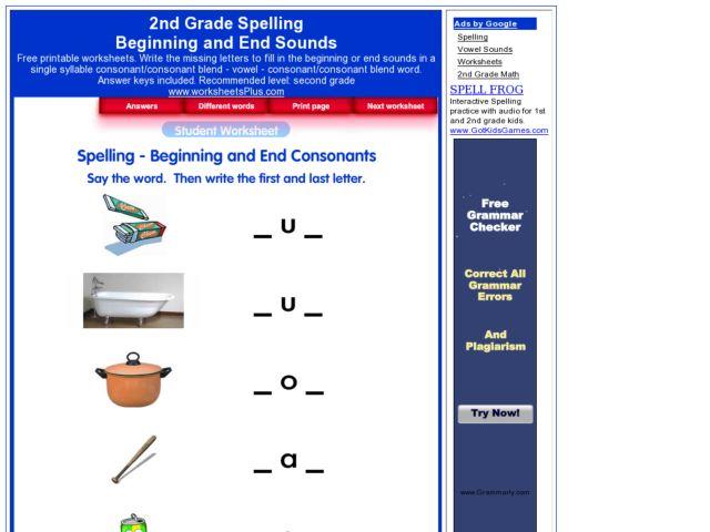 Beginning and Ending Sounds for Grade 2 Worksheet for 2nd ...