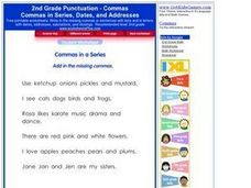 Second Grade Punctuation - Commas Worksheet