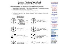 common fractions numerator and denominator worksheet for 3rd 5th grade lesson planet. Black Bedroom Furniture Sets. Home Design Ideas