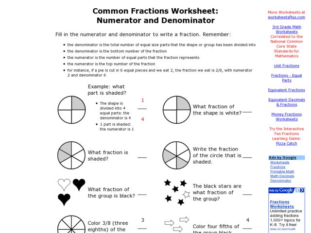 Common Fractions Numerator and Denominator 3rd 5th Grade – Numerator and Denominator Worksheet