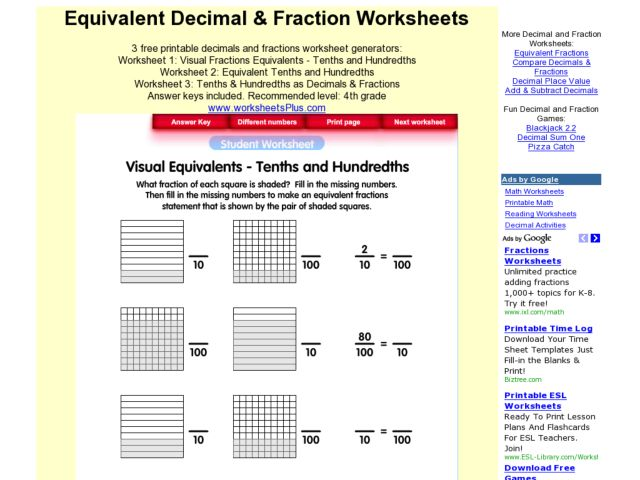 visual equivalents tenths and hundredths worksheet for 5th 7th grade lesson planet. Black Bedroom Furniture Sets. Home Design Ideas