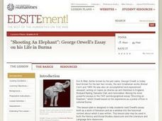 in an essay discuss orwell s use of irony in shooting an elephant Essay continues in addition, because this essay is a personal account, orwell's use of ethos is very prevalent to a further degree orwell's description of an experience as a british policeman in a moulmein, burma reflects his emotions and opinions on imperialism.