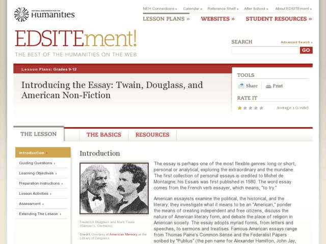 Introducing the Essay: Twain, Douglass, and American Non-Fiction Lesson Plan