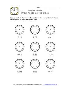 Draw Hands on the Clock Worksheet
