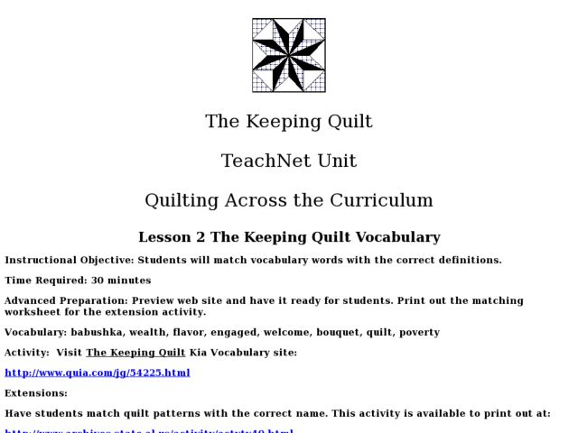 The Keeping Quilt Lesson 2 Worksheet For 2nd 4th Grade
