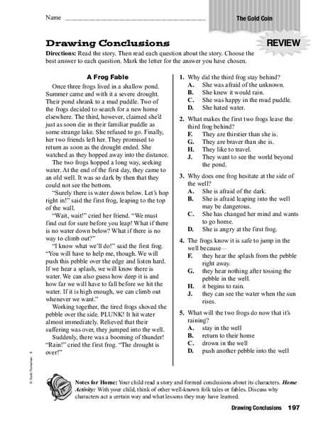 Drawing Conclusions Worksheet For 3rd 6th Grade Lesson
