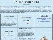 Caring for a Pet Lesson Plan