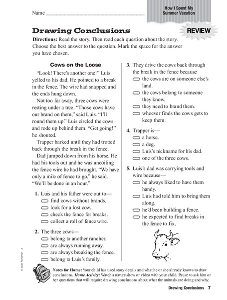 Drawing Conclusions Worksheet | Homeschooldressage.com