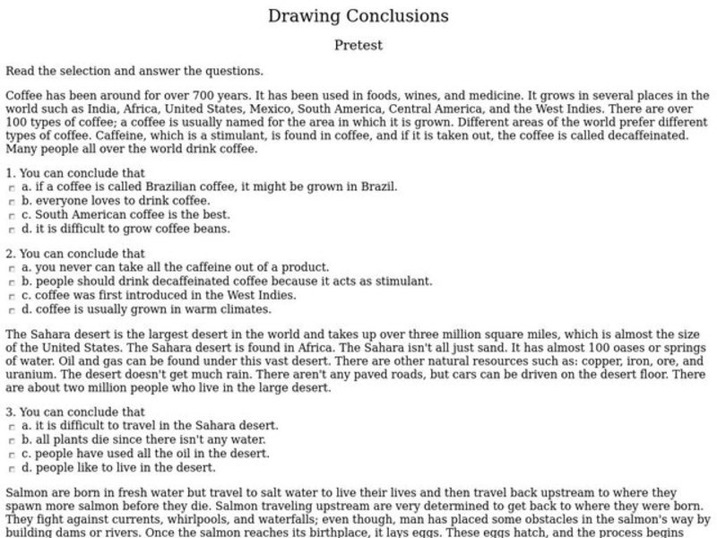 Drawing Conclusions Worksheet For 5th Grade Lesson Planet