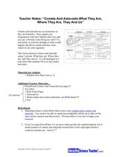 "Teacher Notes - ""Comets And Asteroids - What They Are, Where They Are, They and Us"" Lesson Plan"