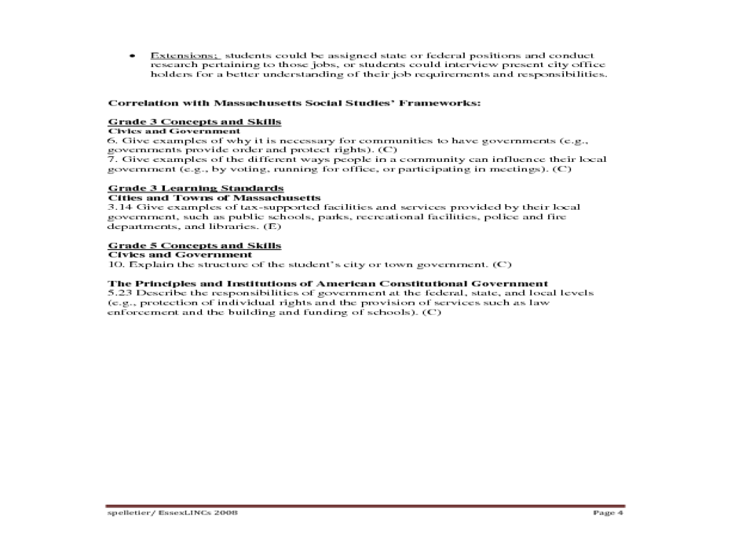 A City/Town Government Job Fair Lesson Plan for 3rd - 5th Grade