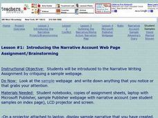 Introducing the Narrative Account Web Page Lesson Plan