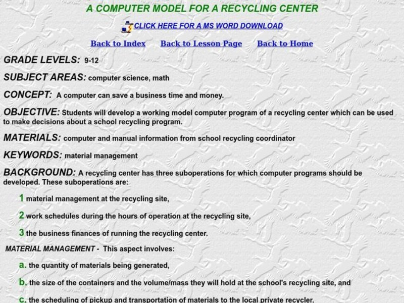 A Computer Model For a Recycling Center Lesson Plan
