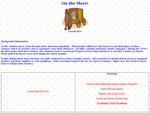 On the Move! Lesson Five Lesson Plan