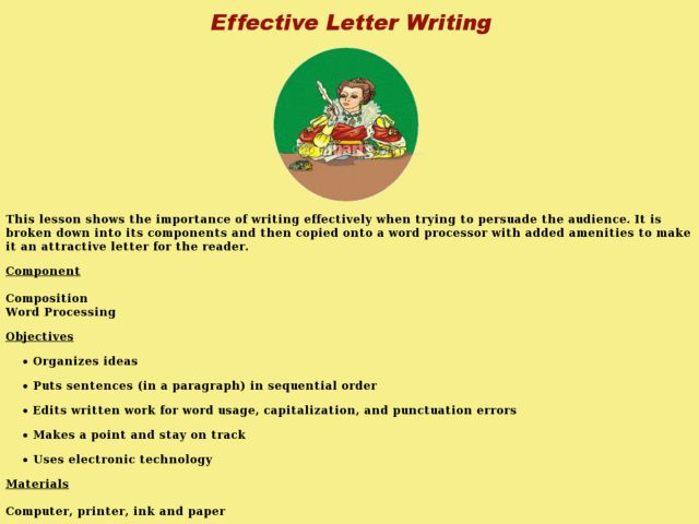 Effective Letter Writing Lesson Plan