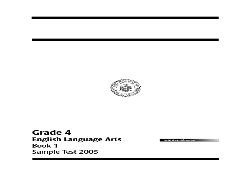 Language Arts Book 1 Grade 4 Test Worksheet for 4th Grade