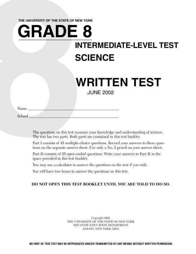 grade 8 science written test worksheet for 8th grade lesson planet. Black Bedroom Furniture Sets. Home Design Ideas