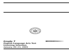 English Language Arts Test: Listening Selection Worksheet