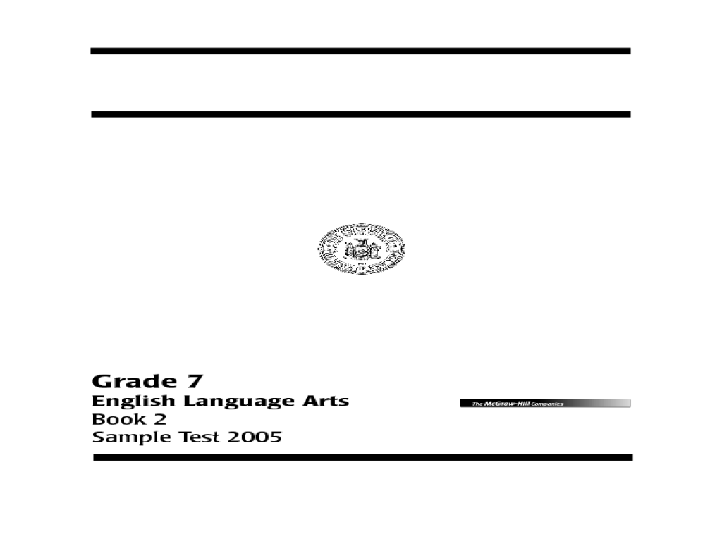 New York State Testing Program English Language Arts Book