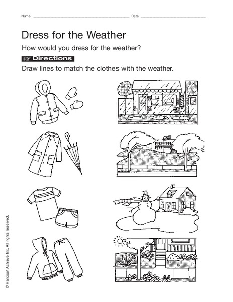 dress for the weather worksheet for pre k kindergarten lesson planet. Black Bedroom Furniture Sets. Home Design Ideas