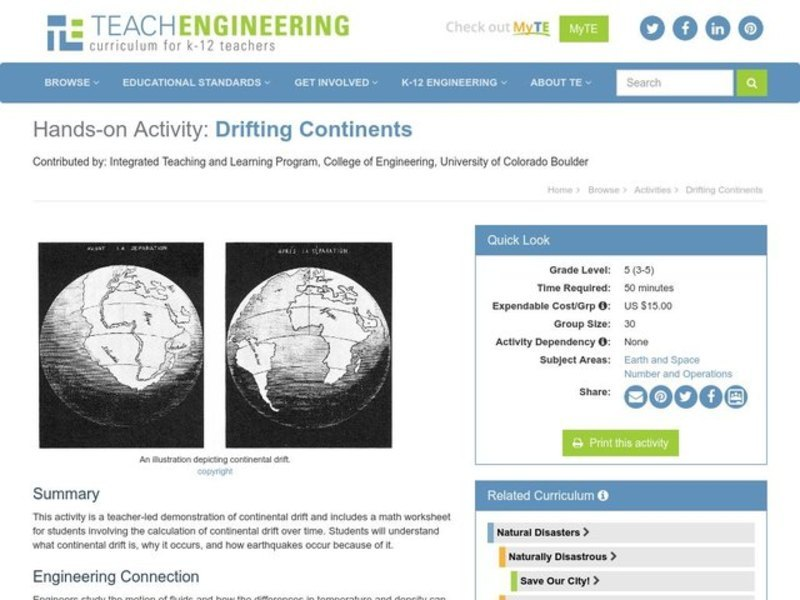 Drifting Continents Lesson Plan